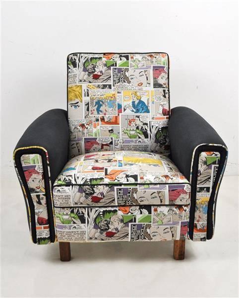 Lote 1628 sof individual reciclado forrado a tecido for Sofa reciclado
