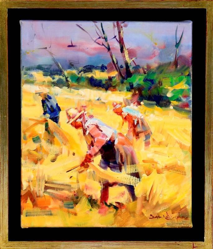 Lote 4923 david levy lima original pintura a leo sobre tela assinada motivo ceifeiras - Pintura instinto ...