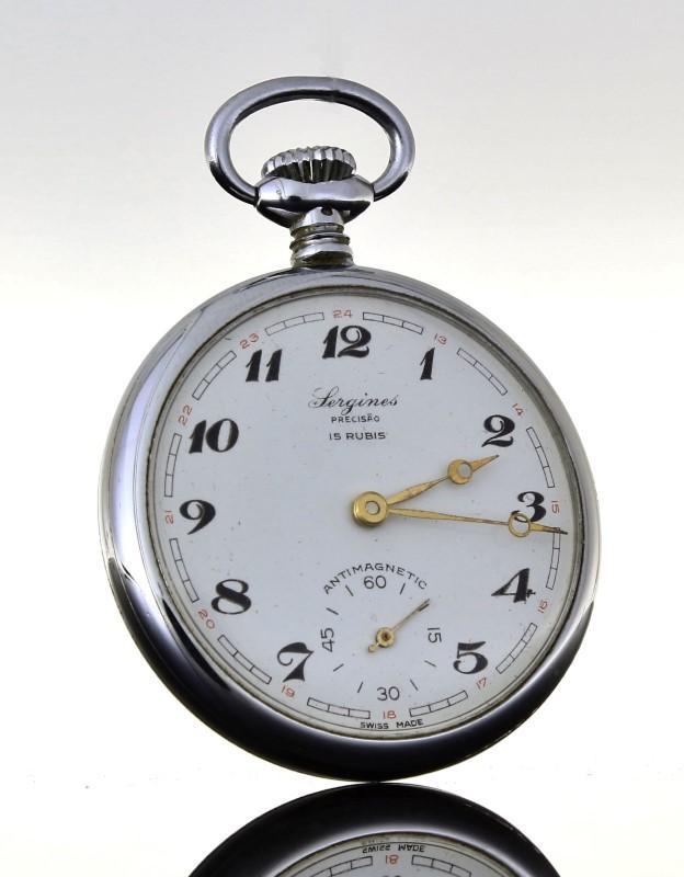 a32f2664cca Lote 4220 - Relógio de bolso Suíço marca Sergines (1950-1960) com ...
