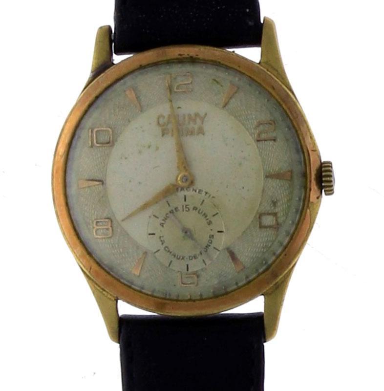 21585ea48c6 Lote 3788 - Relógio de pulso antigo de marca CAUNY PRIMA ANTIMAGNETIC ANCRE  15 RUBIS LA CHAUX DE FONDS 3954 176 a funcionar. - Current price  €30