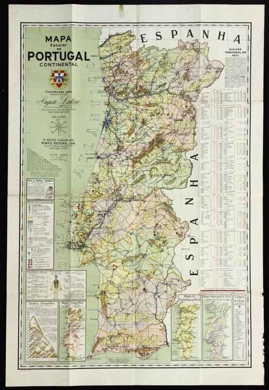 mapa portugal online Lote 95   MAPA ESCOLAR DE PORTUGAL CONTINENTAL   Coordenado pelo  mapa portugal online