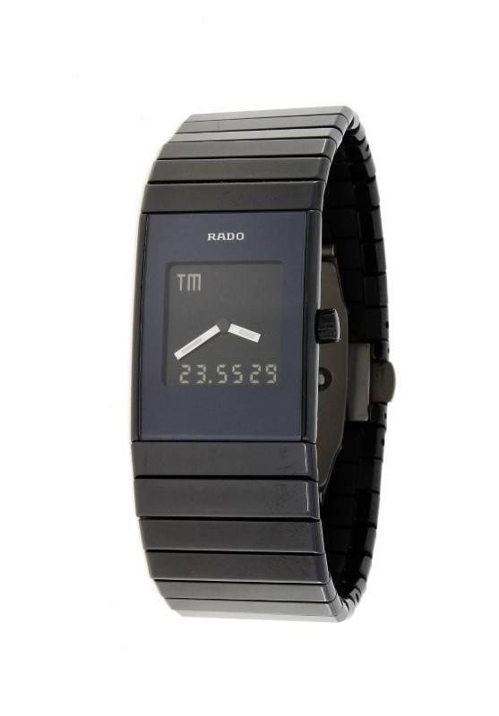 ed727ee6b63 Lote 3727 - Relógio Rado (modelo Diastar High Tech Ceramics) para homem.  Com Cronógrafo. Mostrador preto analógico e digital com ponteiros brancos  ...